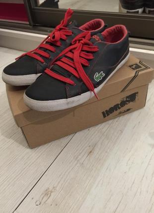 Кожаные кроссовки, кеды, чёрные lacoste 37 размер