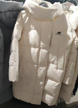 Теплющее зимнее пуховое пальто new balance athletics awj93551sst-оригинал