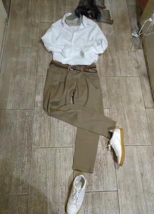 Брюки,штаны,чиносы,женские,хлопок,бежевые,офисные,для офиса, базовые