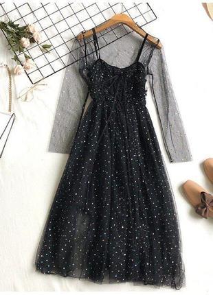 Платье на бретелях+ кофточка в сеточку