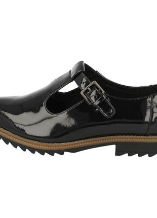 Черные лакированные кожаные туфли оксфорды clarks 'griffin monty'