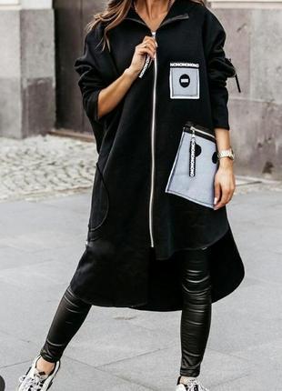 Худи пальто тренч чёрный цвет