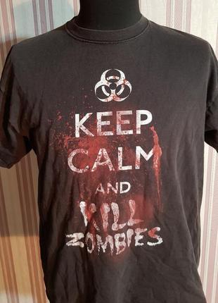 Футболка keep calm and kill zombies размер l