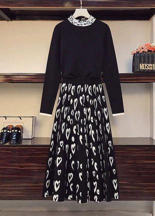 Бомбовый тёплый костюм юбка и кофточка турция
