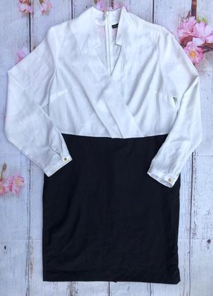Красивое базовое платье черно-белое юбка блуза