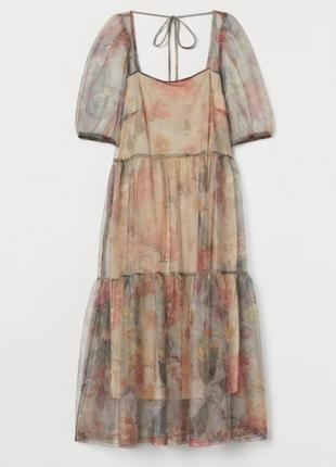Пышное фатиновое платье миди h&m