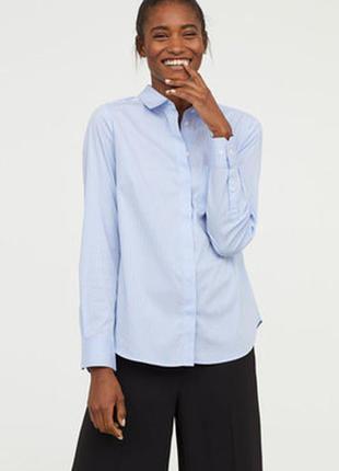 Базовая голубая хлопковая рубашка в полоску h&m