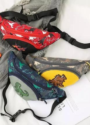 Детская бананка для мальчика с динозаврами сумка на пояс для девочки бананка для хлопчика