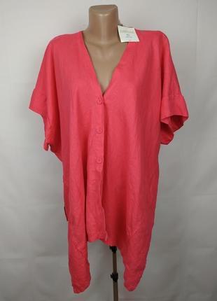 Блуза рубаха новая льняная розовая модная италия uk 18-20
