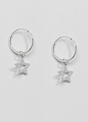 Стильні срібні сережки кільця зірочки, серьги кольца звезды 🌿з сайту asos