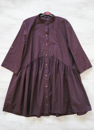 Свободное платье-рубашка из поплина (коттон) от zara цвет марсала
