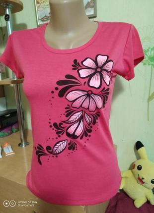 Красивая облегающая тонкая футболка-тёмно-розовая-xxs-xs- новая
