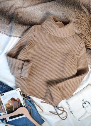 Бежевый вязаный шерстяной свитер с горлом с шерстью 100%virgin wool