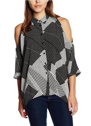 Черно-белая блуза с вырезами на плечах геометрия / большая распродажа