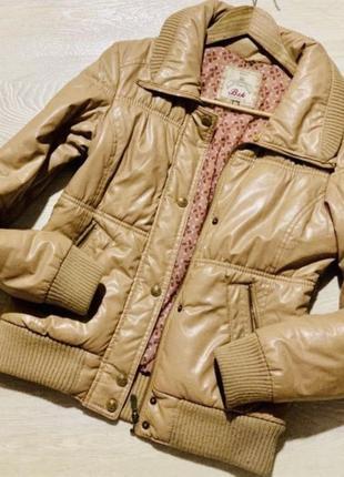 Bershka утепленная куртка  фирменная курточка экокожа на синтепоне размер m