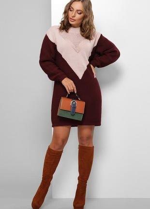 Платье вязаное теплое мини для беременных