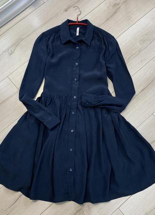Синее платье pepe jeans рубашечный стиль пышная юбка
