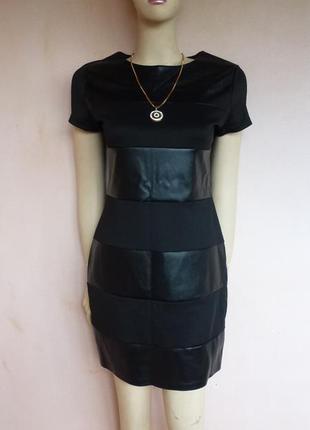 Лёгкое чёрное платье с кожаными вставками, новое с этикеткой.