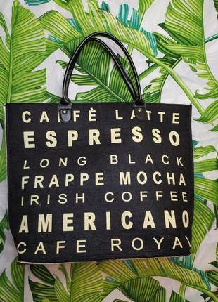 Большая сумка шопер фетр coffee