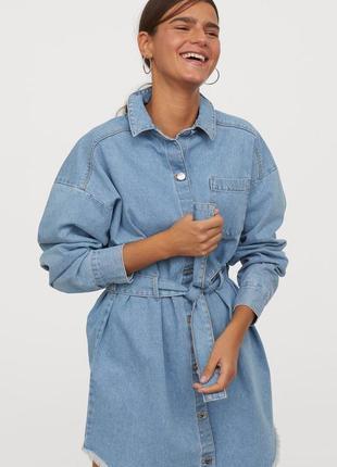 Джинсовое платье-рубашка h&m,p.xs-s