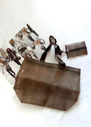 Новая леопардовая сумочка-шоппер с кошельком marks & spencer