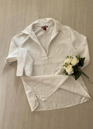 Рубашка льняная, рубашка белая , рубашка лён