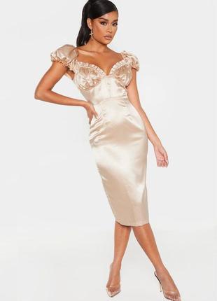Атласное платье prettylittlething миди с рукавами-буфф и вырезом середечком с asos