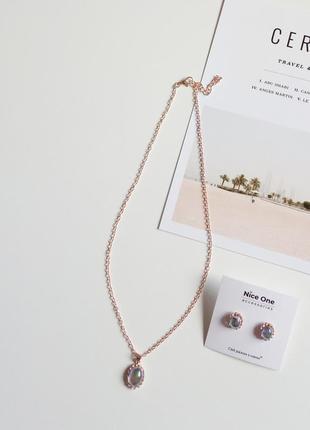 Чудовий набір цепочка з підвіскою та сережки