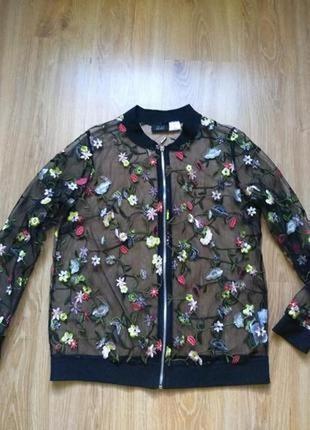 Paola оригинальный шикарный бомбер пиджак с вышивкой