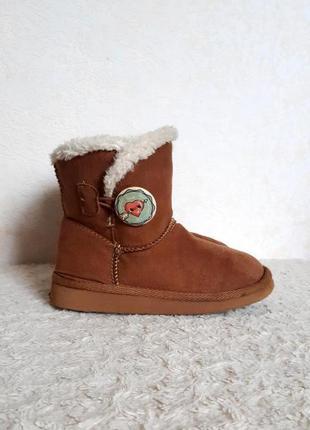 H&m угги демисезонные сапоги ботинки рыжие замш р.27,5 17,2 см