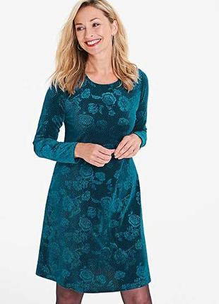 Шикарное стрейч велюровое платье цветочный принт 16/50-52 размера