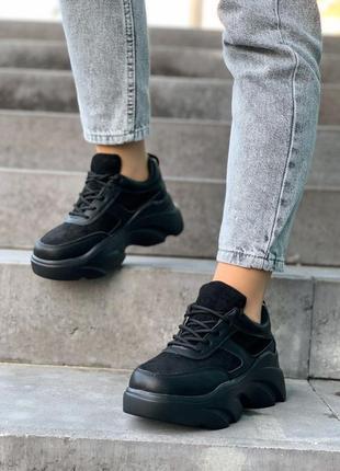 Кроссовки чёрные осень 🍂