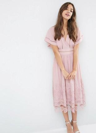 Asos роскошное лиловое платье шикарный ажур