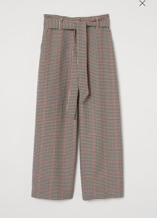 Брюки, кюлоты с поясом, в модную гусиную лапку, для осеннего outfit