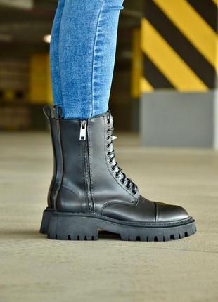 Balenciaga tractor  🖤женские кожаные осенние ботинки черного цвета