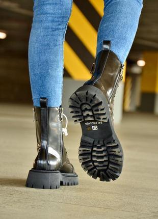 Balenciaga tractor  (лак) 🖤женские кожаные осенние ботинки черного цвета