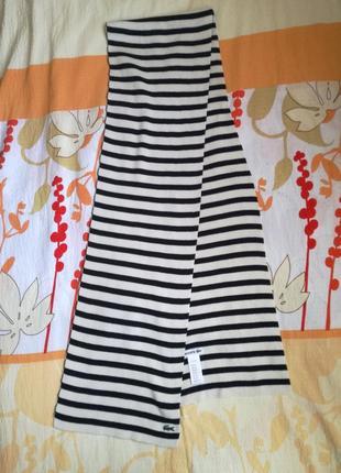 Полосатый шарф хлопок+шерсть lacoste