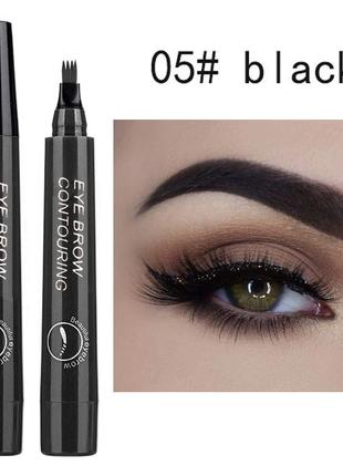 Тройной карандаш-ручка для бровей eyebrow 5 blaсk, водостойкий лайтер для бровей