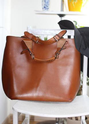 Рыжая, коричневая сумка шоппер zara
