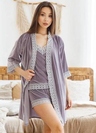 Mito бархат комплект халат и пижама с шортами с кружевом серый
