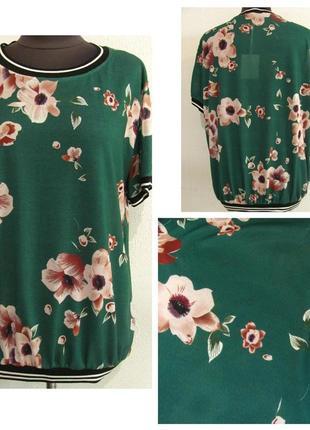 Блуза спортивного стиля трикотажная в цветочный принт р.48-52 код 1269м