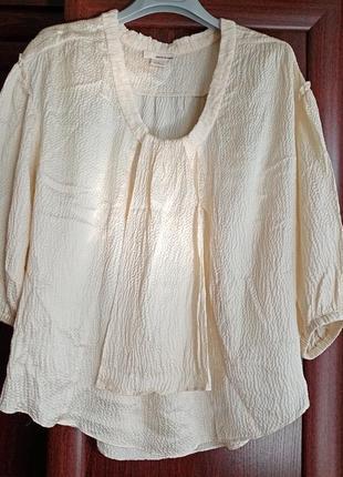 Шёлковая блуза блузка с объёмными рукавами хлопок+шёлк