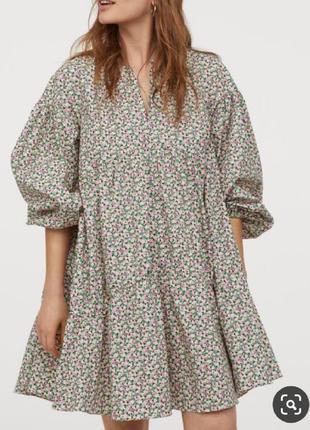 Платье миди цветочный принт свободное принтом оборкой объемное струящееся сукня квітковий