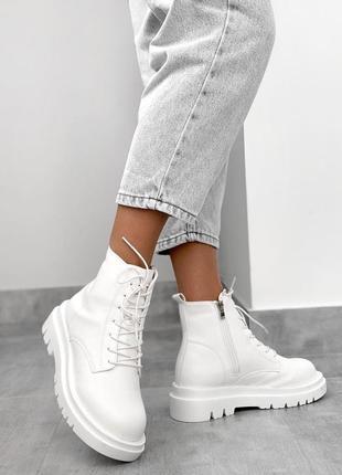 Белые зимние ботинки на тракторной подошве 🤍 {маломерят}