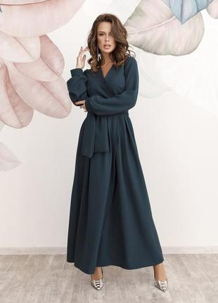 Шикарное темно-зеленое длинное платье кроя на запах