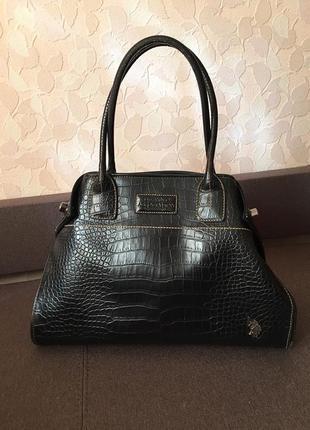 Темно-коричневая кожаная сумка от u.s. polo assn