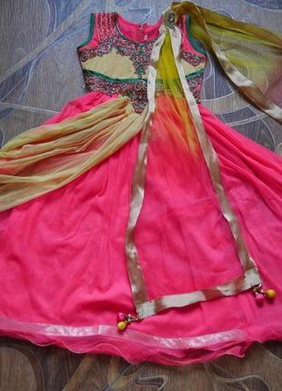 Детское сари. 7-9 лет. индийский восточный карнавальный костюм.