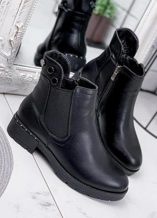 Новые женские чёрные зимние ботинки