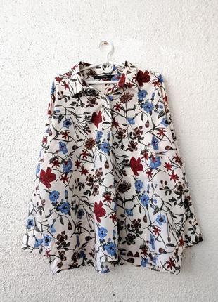 Рубашка, блуза в цветочный принт оверсайз