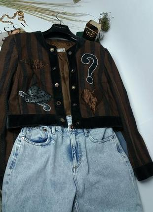 !люксовый шерстяной пиджак курточка винтаж піджак короткий